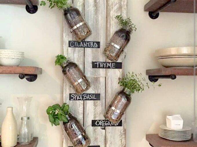 diy mason jar indoor herb garden, mason jars
