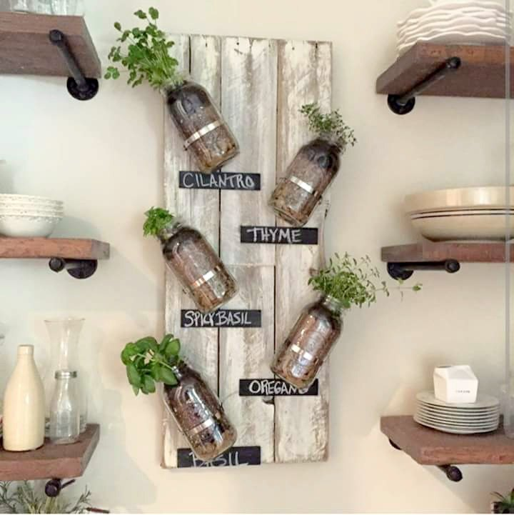 diy mason jar indoor herb garden, mason jars