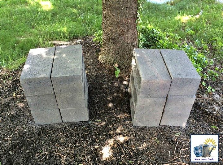 diy wood and cinder block bench, outdoor furniture