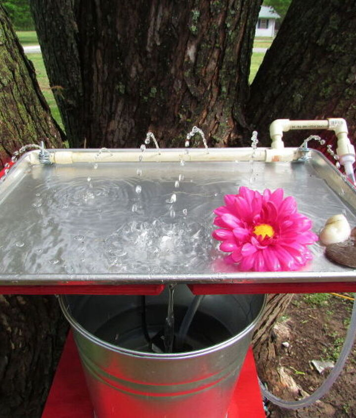 s 10 amazing ways to attract hummingbirds to your garden, gardening, pets animals, Turn a cookie sheet into a bath water tray
