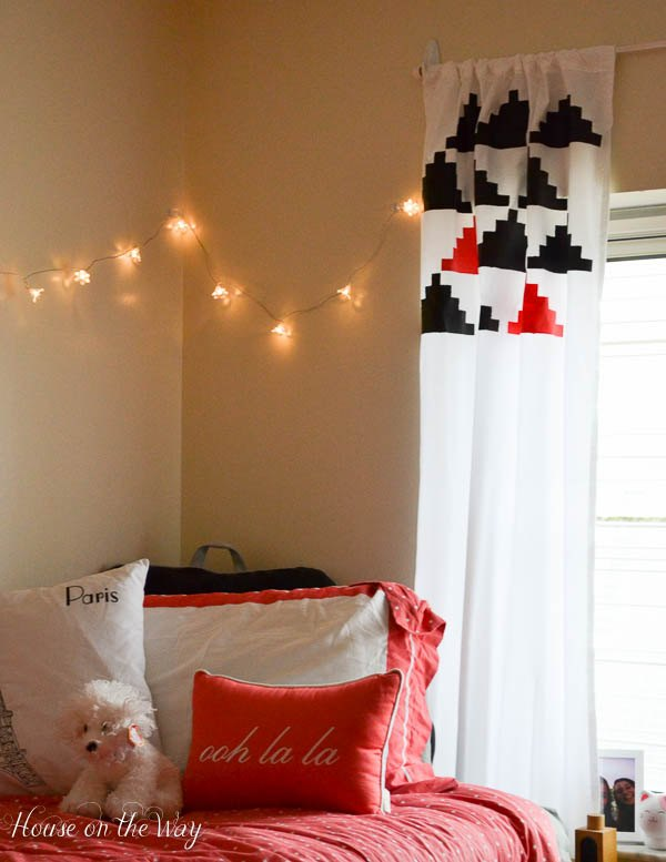 s 9 brilliant home hacks using twin sized sheets, home decor, repurposing upcycling, Craft patterned curtains with paint