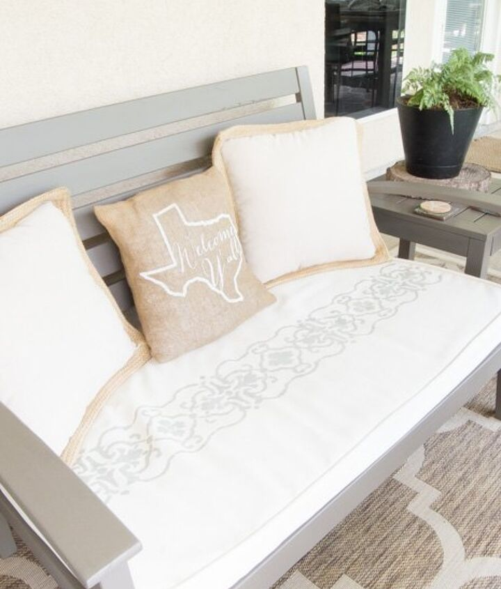 update boring cushions with a stencil , crafts, how to