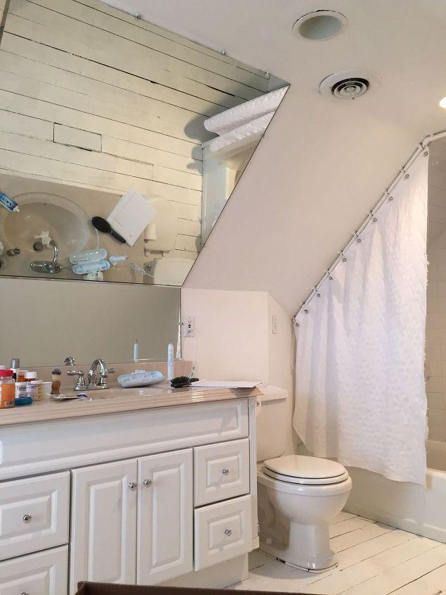 Industrial chic attic bathroom renovation hometalk for Attic bathroom design ideas