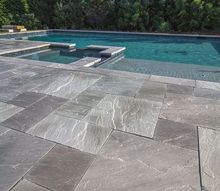 slate pool decking project, decks, pool designs