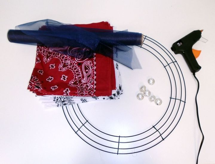 how to make a patriotic bandana wreath, craft rooms, how to, patriotic decor ideas, seasonal holiday decor, wreaths