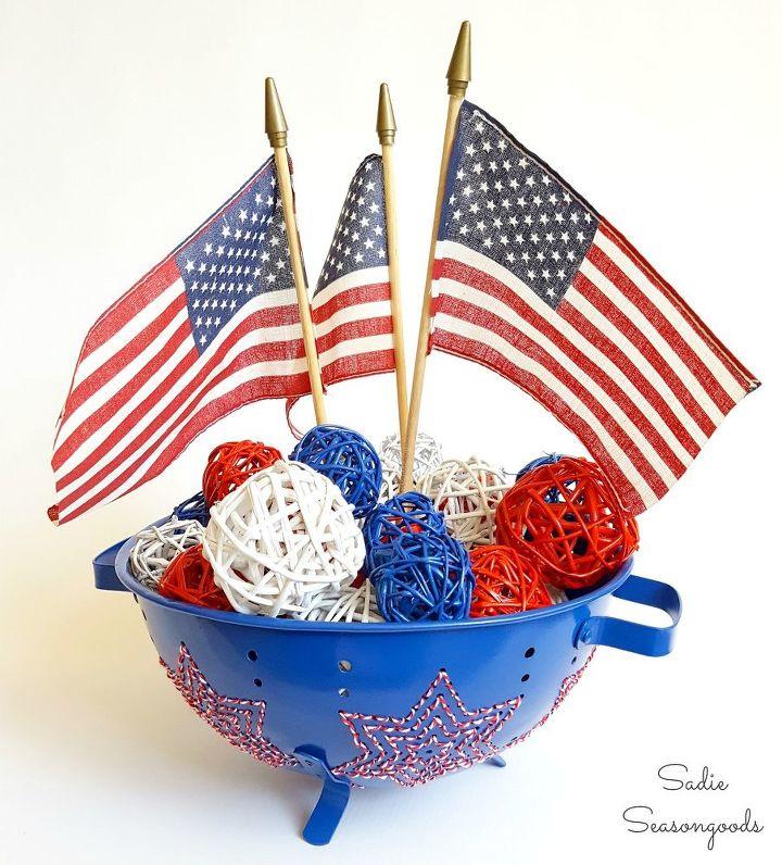 vintage colander patriotic centerpiece, crafts, patriotic decor ideas, repurposing upcycling, seasonal holiday decor