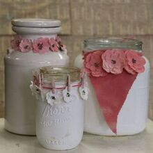 painted jars with diy paper flowers, crafts, diy, home decor, repurposing upcycling