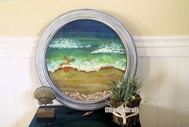 what is she up to now beach window out of a clock , crafts, repurposing upcycling