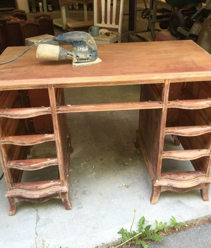 before and after vintage desk vanity for a little girl, bedroom ideas, painted furniture