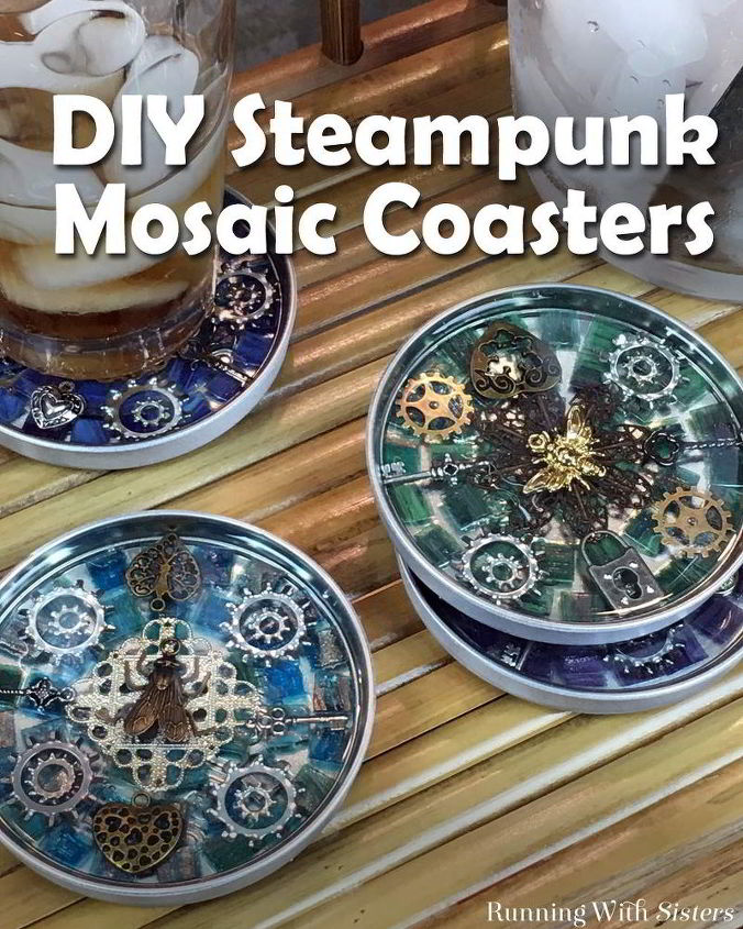 steampunk mosaic coasters, crafts, how to, tiling