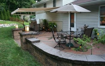 oley paver patio w custom compass rose, concrete masonry, gardening, lighting, patio