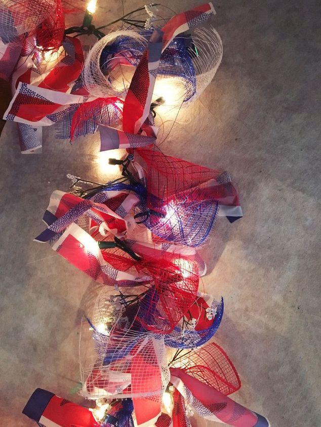 dollar store patriotic garland, crafts, lighting, seasonal holiday decor