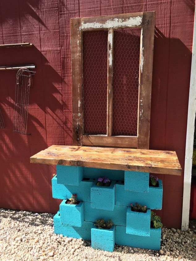 outdoor cinderblock wet bar gardening station, gardening, outdoor living