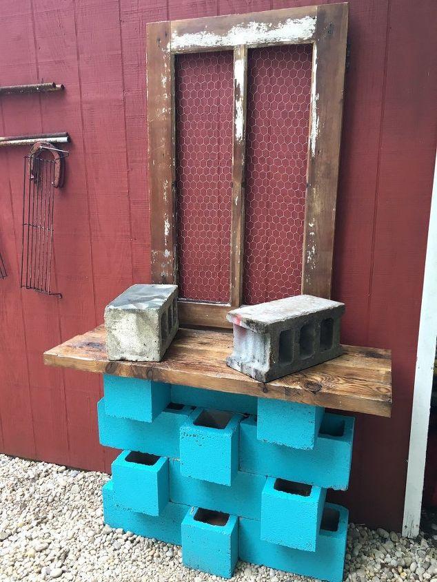 outdoor cinderblock wet bar gardening station, gardening, outdoor living