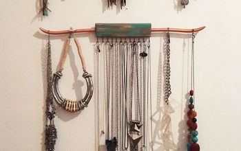 Rustic Wood and Copper Pipe Jewelry Hanger