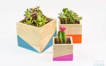 Color Block Wood Planter