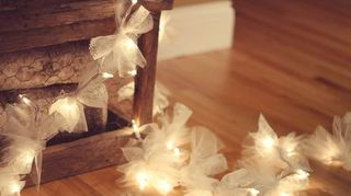 diy ping pong ball lights, lighting, outdoor living, repurposing upcycling, Tulle with string of lights