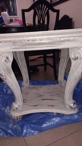 whitewash faux silverleaf endtable, painted furniture