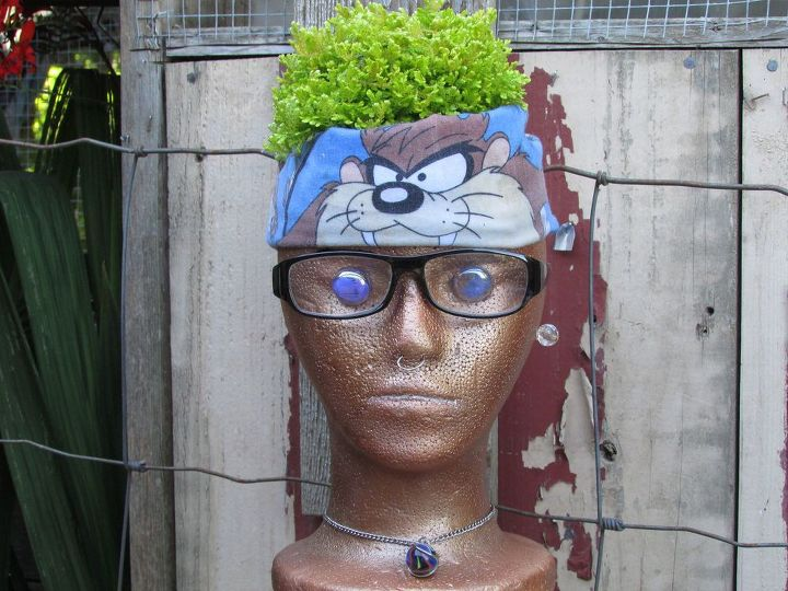 styrofoam heads garden pots cute and unique, container gardening, flowers, gardening, repurposing upcycling