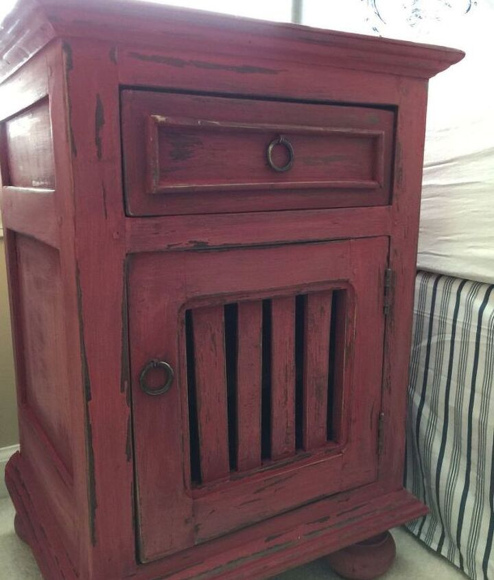 farmhouse nightstand makeover why red is dead and white is right, chalk paint, painted furniture, rustic furniture