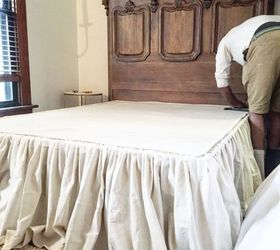 diy no sew drop cloth bed skirt bedroom ideas diy how to