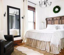 diy no sew drop cloth bed skirt, bedroom ideas, diy, how to