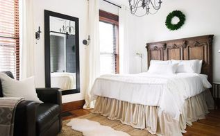 diy no sew drop cloth bed skirt, bedroom ideas, diy, how to