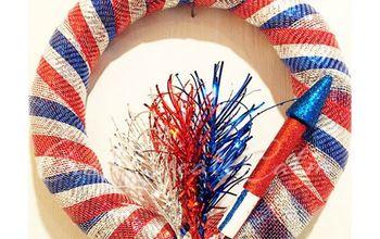 diy red white and blue firecracker wreath summer decoration, crafts, patriotic decor ideas, wreaths