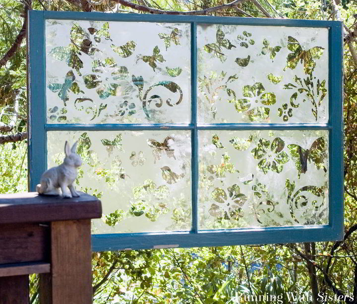 s 13 ways to get backyard privacy without a fence, fences, outdoor living, Hang whimsical etched glass windows