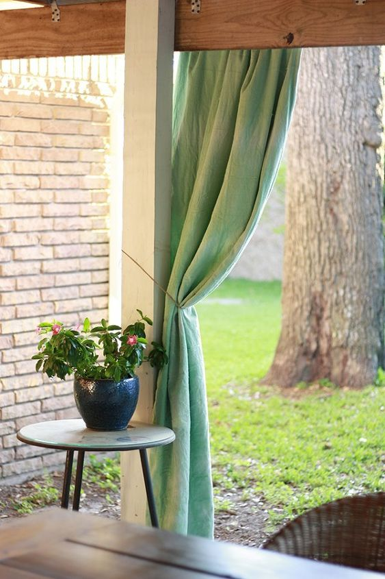 s 13 ways to get backyard privacy without a fence, fences, outdoor living, Dip dye a set of curtains for an open patio