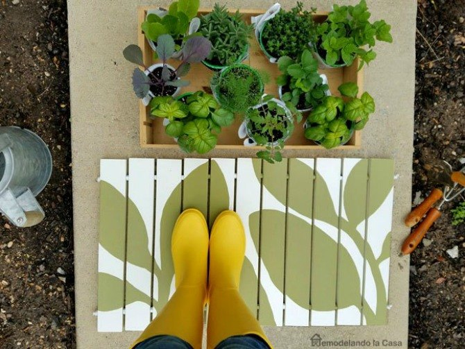 s 13 ideas for having the cutest front steps on the block, container gardening, outdoor living, porches, Paint a pretty wooden welcome mat