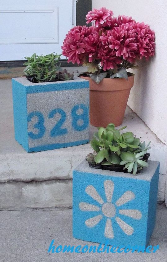 s 13 ideas for having the cutest front steps on the block, container gardening, outdoor living, porches, Turn concrete blocks into numbered planters