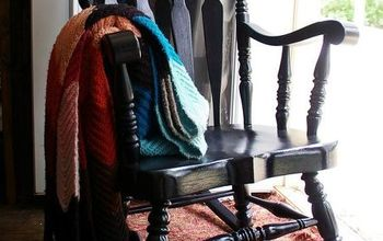 from dated to stunning black painted rocking chair , painted furniture