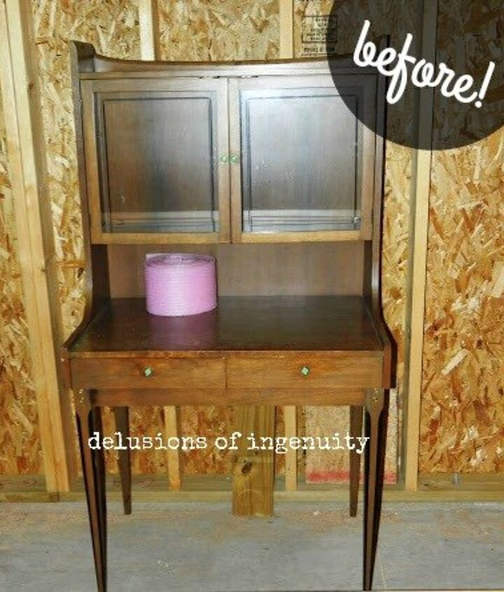 mid century hutch makeover, painted furniture