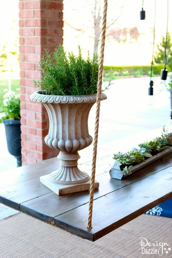 outdoor patio decor complete with hanging table, outdoor furniture, outdoor living, patio