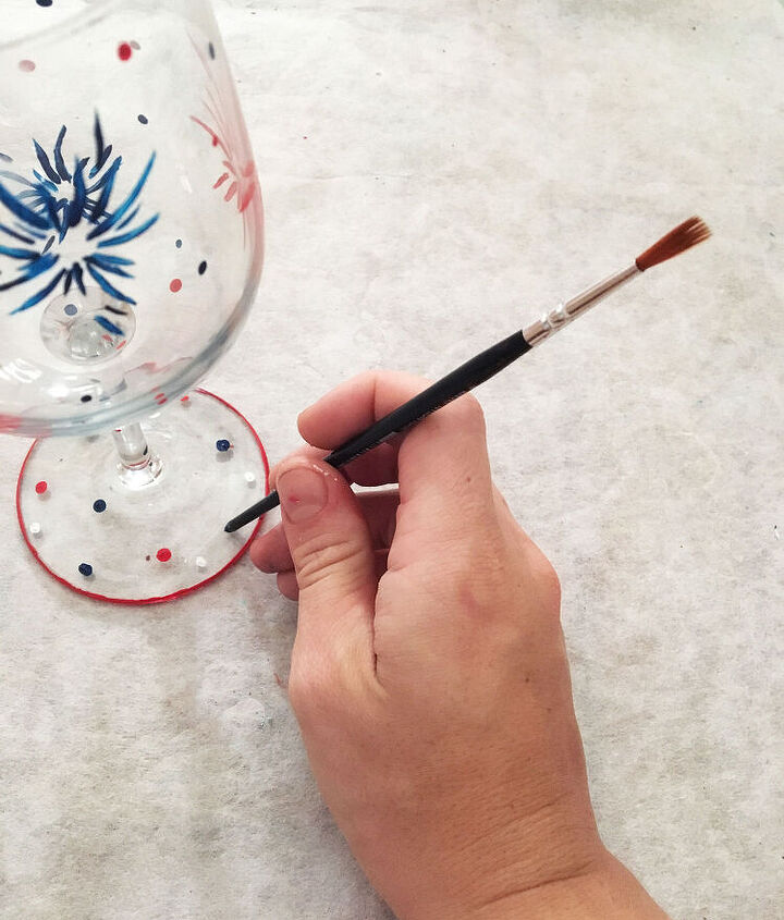 hand painted 4th of july patriotic wine glasses, crafts, patriotic decor ideas, seasonal holiday decor
