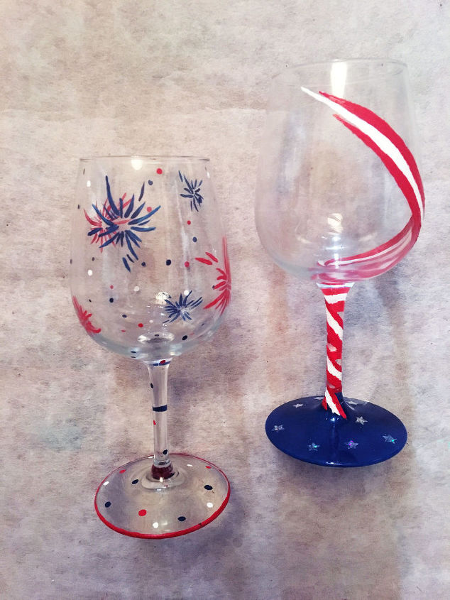 hand painted 4th of july patriotic wine glasses crafts patriotic decor ideas seasonal - Wine Glass Design Ideas