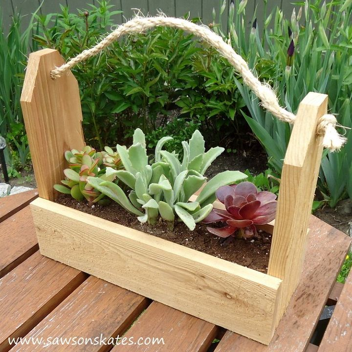 Rustic Tool Caddy Planter Made With Scrap Wood Container Gardening Diy