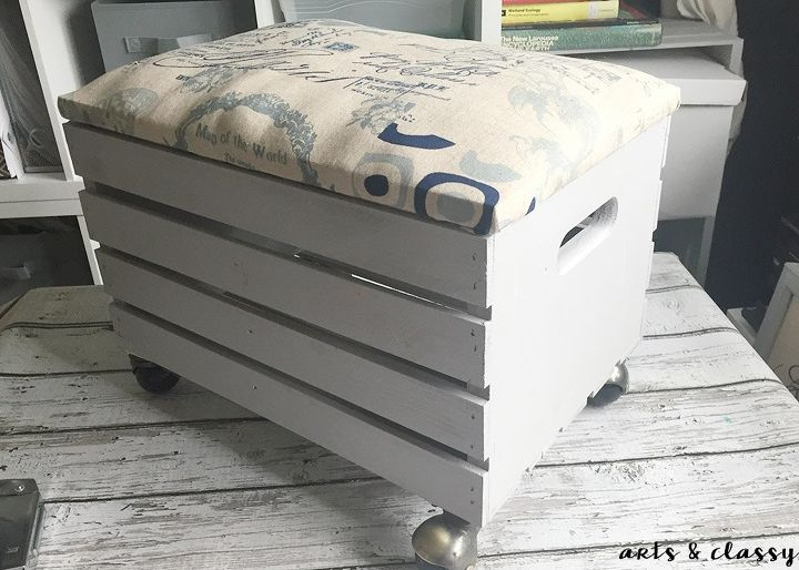 how to create a wooden crate rolling storage ottoman, how to, painted furniture, storage ideas, reupholster, woodworking projects
