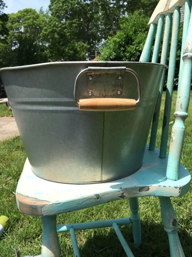 drink planter bucket chair, gardening, repurposing upcycling