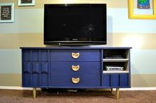 mid century dresser to media console makeover, entertainment rec rooms, painted furniture