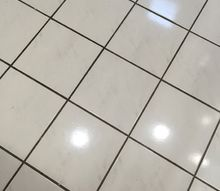 q ideas what to do about floor , cosmetic changes, flooring, home improvement, This is the white tile dark grout