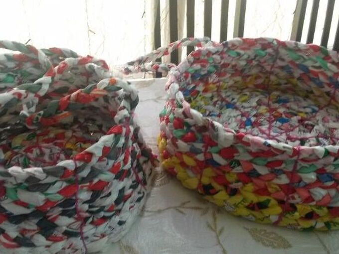 bagged into baskets , crafts, repurposing upcycling