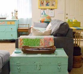 Colorful Eclectic Vintage Living Room, Crafts, Living Room Ideas, Painted  Furniture, Shelving