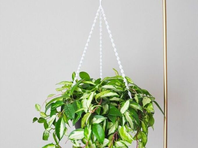 diy macram plant hanger gold plant stand, container gardening, crafts, gardening