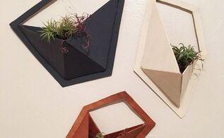 wooden geo wall pocket shelves planters, gardening, storage ideas