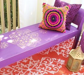 Boho Bench Makeover, Outdoor Furniture, Painted Furniture, Repurposing  Upcycling