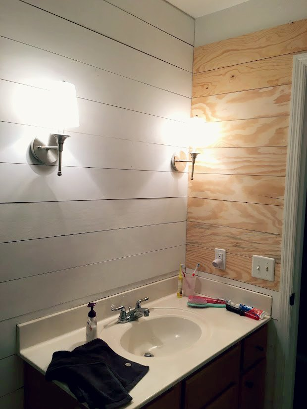 Faux Shiplap Bathroom Makeover Ideas How To Wall Decor Woodworking Projects