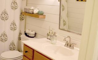 faux shiplap bathroom makeover, bathroom ideas, how to, wall decor, woodworking projects