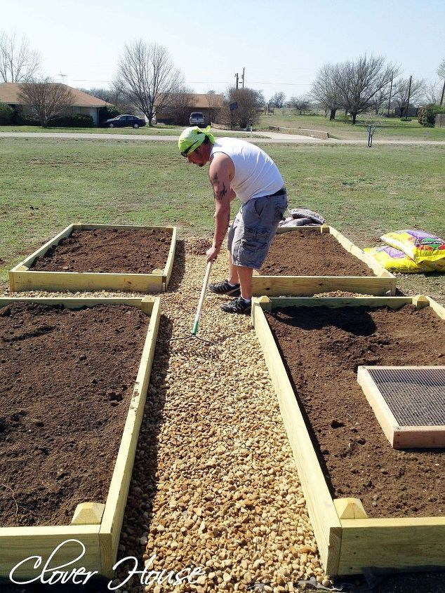 s 13 easiest ways to build a raised vegetable bed in your garden, gardening, Surround them with pebbles to prevent weed
